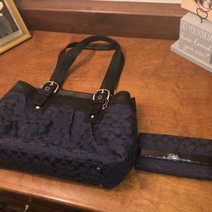 Coach blue Large Purse and matching wallet